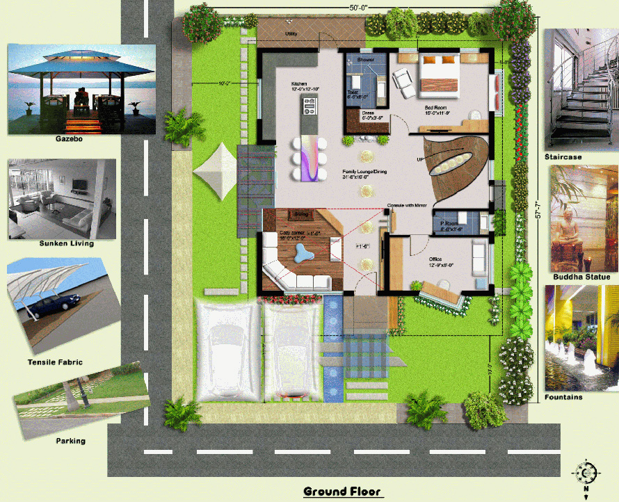3040 east facing ground floor house plans in india joy for Ground floor house design in india
